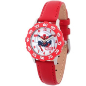 Marvel Spider-Man Boys' Stainless Steel with Red Bezel Watch, Red Leather Strap