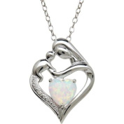 Mother and Child Created Opal and Diamond Accent Pendant in Sterling Silver, 46cm