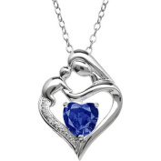Mother and Child Created Sapphire and Diamond Accent Pendant in Sterling Silver, 46cm