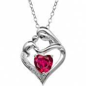 Mother and Child Created Ruby and Diamond Accent Pendant in Sterling Silver, 46cm