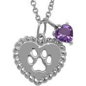 Petite Expressions Amethyst Dog Paw Charm Necklace in Sterling Silver, 46cm