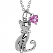 Petite Expressions Pink Amethyst Cat Charm Necklace in Sterling Silver, 46cm