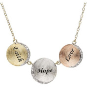 """Sterling Silver and 18kt Yellow and Pink Gold """"Faith, Hope and Love"""" Triple Circles with Crystal Necklace, 46cm"""