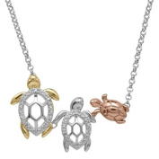 Diamond Accent 18kt Gold over Sterling Silver Turtle Family Necklace