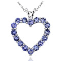 1.9 Carat T.G.W. Tanzanite Sterling Silver Heart Pendant, 46cm