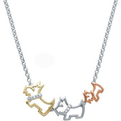 Diamond Accent 18kt Gold over Sterling Silver Dog Family Necklace