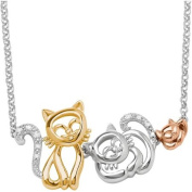 Diamond Accent 18kt Gold over Sterling Silver Cat Family Necklace