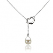 10-11mm White Freshwater Pearl and Sterling Silver Heart Chain Necklace