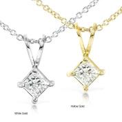 Annello by Kobelli 14k Gold 1/3ct Princess Diamond Solitaire Necklace