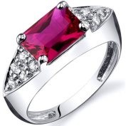 Oravo 2.00 Carat T.G.W. Created Ruby Rhodium-Plated Sterling Silver Engagement Ring