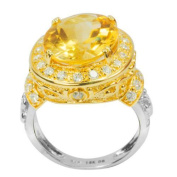 De Buman Two-tone Sterling Silver Citrine and White Topaz Ring