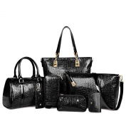 Hoxis Women Multi-purpose Pack of 7 Simple Design Purse Crocodile Pattern Patent Leather Leatherette Shoulder Handbags Clutches, Tote, Shoulder Crossbody, Cosmetic, Wallet, Key Bag,Card Holder