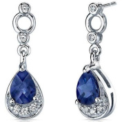 Oravo 2.00 Carat T.G.W. Created Blue Sapphire Rhodium over Sterling Silver Dangle Earrings