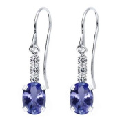1.86 Ct Oval Natural Blue Tanzanite AAA 925 Sterling Silver Earrings