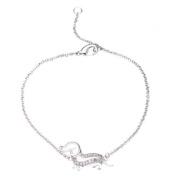 Malin + Mila Sterling Silver Plated 1/10ct TDW Diamond Dachshund Bracelet