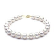 "Mabella BWK02PL 7 1/2"" Freshwater White Pearl Bracelet 7-7.5mm AAA 14k Solid Yellow Gold Clasp - BWK02PL"