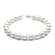 "Mabella BWK03PL 7 1/2"" Freshwater White Pearl Bracelet 8-8.5mm AAA 14k Solid White Gold Clasp - BWK03PL"