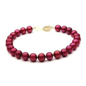 "Mabella BWK01PL 7 1/2"" Freshwater Cranberry Red Pearl Bracelet 7-7.5mm AAA 14k Solid Yellow Gold Clasp - BWK01PL"