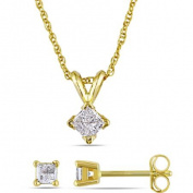 Miabella 1/2 Carat T.W. Princess-Cut Diamond 14kt Yellow Gold Solitary Pendant and Earrings Set, 43cm
