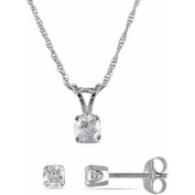 Miabella 5/8 Carat T.W. Diamond 14kt White Gold Set of Solitaire Pendant and Earrings, 43cm