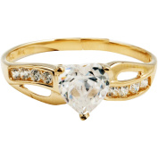 Believe by Brilliance 1.47 Carat T.G.W. CZ Heart-Shape 10kt Yellow Gold Engagement Ring