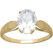 Brilliance Oval-Cut Solitaire CZ 10kt Yellow Gold Engagement Ring, Size 7