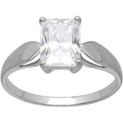 Brilliance Emerald-Cut Solitaire CZ 10kt White Gold Engagement Ring, Size 7