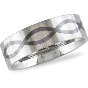 Stainless Steel Men's Ring with Black Enamel