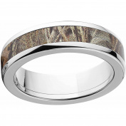 Realtree Max 4 Men's Camo 6mm Stainless Steel Wedding Band with Polished Edges and Deluxe Comfort Fit