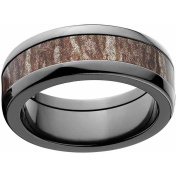 Mossy Oak Bottomland Men's Camo Black Zirconium Ring with Polished Edges and Deluxe Comfort Fit