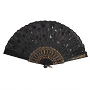 TOOGOO(R) Black Plastic Frame Embroidery Floral Detail Folding Hand Fan