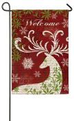 Evergreen Suede Christmas Deer Silhouette Welcome Garden Flag, 32cm x 46cm