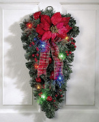 Collections Etc Lighted Christmas Poinsettia Door Swag Decoration
