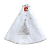 100cm White Christmas Tree Skirt with Silver Sequin Trim
