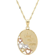 Sterling Silver and 18kt Gold Plate with Rhodium Inscribed Oval with Cut-Out Open Hearts Pendant, 46cm