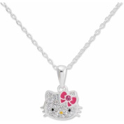 Hello Kitty Girl's Sterling Silver Clear Crystal Pendant