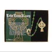 50cm Filigree Celtic Cross Irish Glass Beaded Rosary