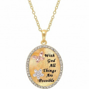 """Sterling Silver and 18K Gold Plate Crystal Border """"With God All Things Are Possible"""" Oval Pendant, 46cm"""