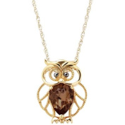 Petite Expressions Smokey Quartz Owl Pendant in Gold-Plated over Sterling Silver, 46cm