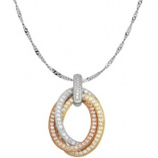 CZ Sterling Silver and 18kt Yellow and Pink Gold Interlocking Oval Pendant, 46cm Singapore Chain