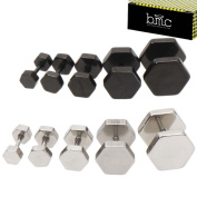BMC 10 pc Stainless Steel Mixed Design Round Barbell Unisex Fashion Earrings Set