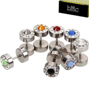 BMC 8 pc Silver Coloured Stainless Steel Multicolor Faux Gem Barbell Earrings