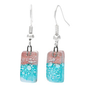 Global Crafts Handmade Silver Blue and Pink Glass Drop Earrings