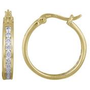 CZ 20mm Channel-Set 18kt Gold over Silver Hoop Earrings