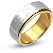 Steel Art Stainless Steel Lord's Prayer Polish Finished Ring