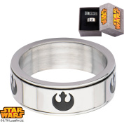 Disney Star Wars Men's Stainless Steel Rebel Alliance Symbol Spinner Ring, Sizes 8-12