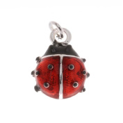 Silver Plated Red And Black Enamel Lady Bug Charm 14mm