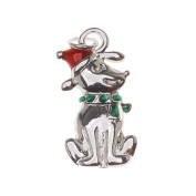 Silver Plated Enamel Charm Christmas Puppy Dog With Santa Hat 19mm