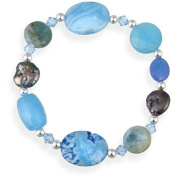 Turquoise, Quartz, Apatite, Crystal, Coin Pearl Sterling Silver Fashion Stretch Bracelet, 19cm