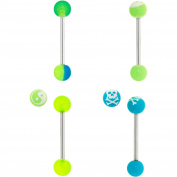Body Magic 316L Steel and Surgical Grade Material 4-Piece Glow-in-the-Dark Ball Barbell Set